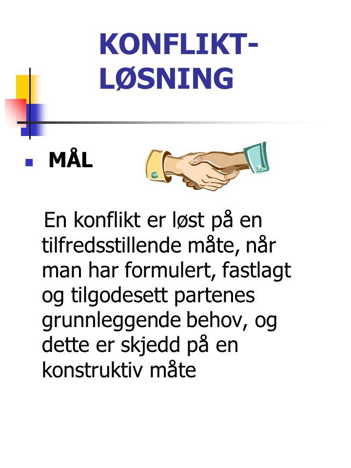 KONFLIKT- LØSNING MÅL.