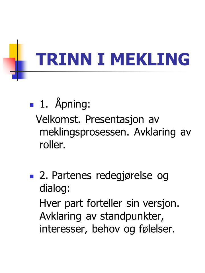 TRINN I MEKLING 1. Åpning:
