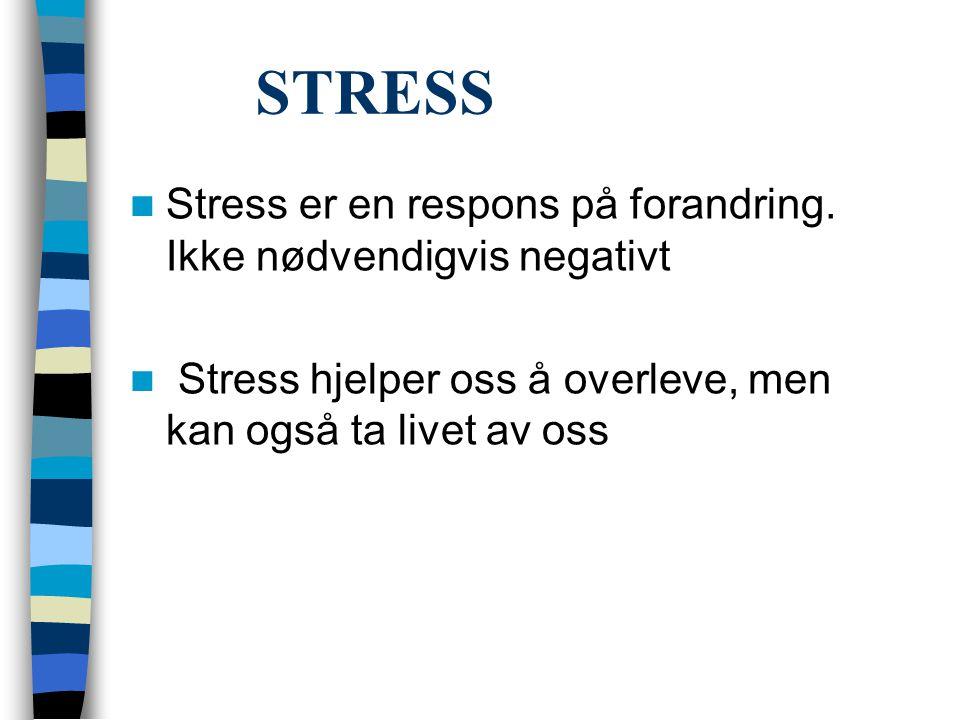 STRESS Stress er en respons på forandring. Ikke nødvendigvis negativt