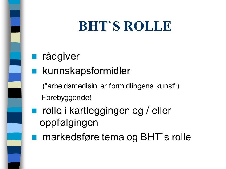 BHT`S ROLLE rådgiver kunnskapsformidler