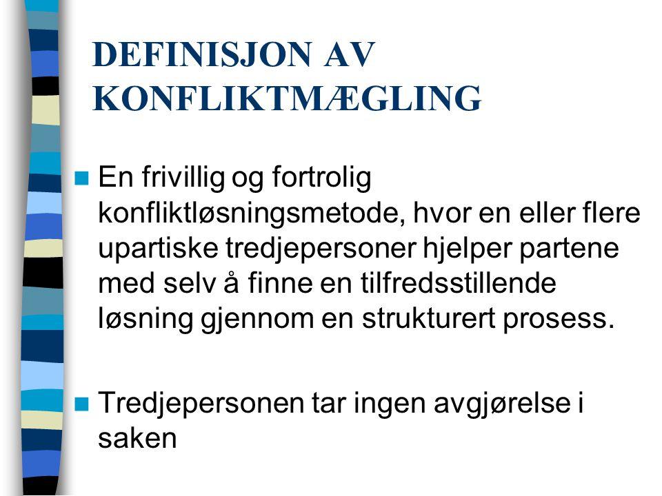 DEFINISJON AV KONFLIKTMÆGLING