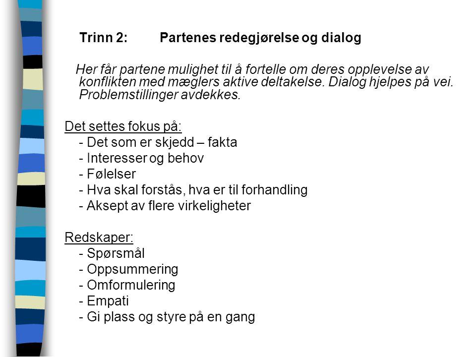 Trinn 2: Partenes redegjørelse og dialog