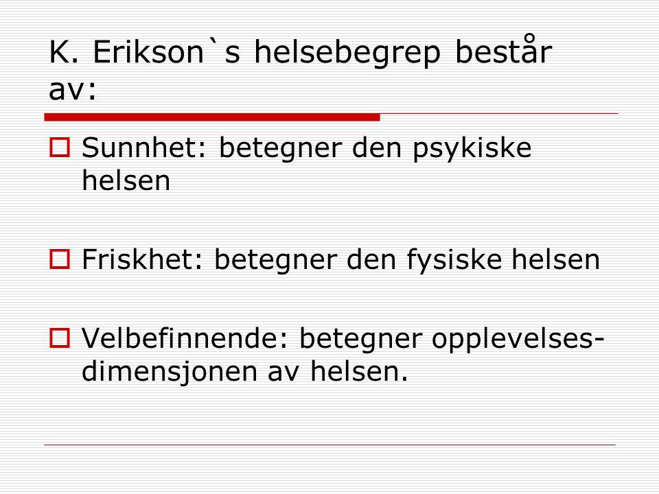 K. Erikson`s helsebegrep består av: