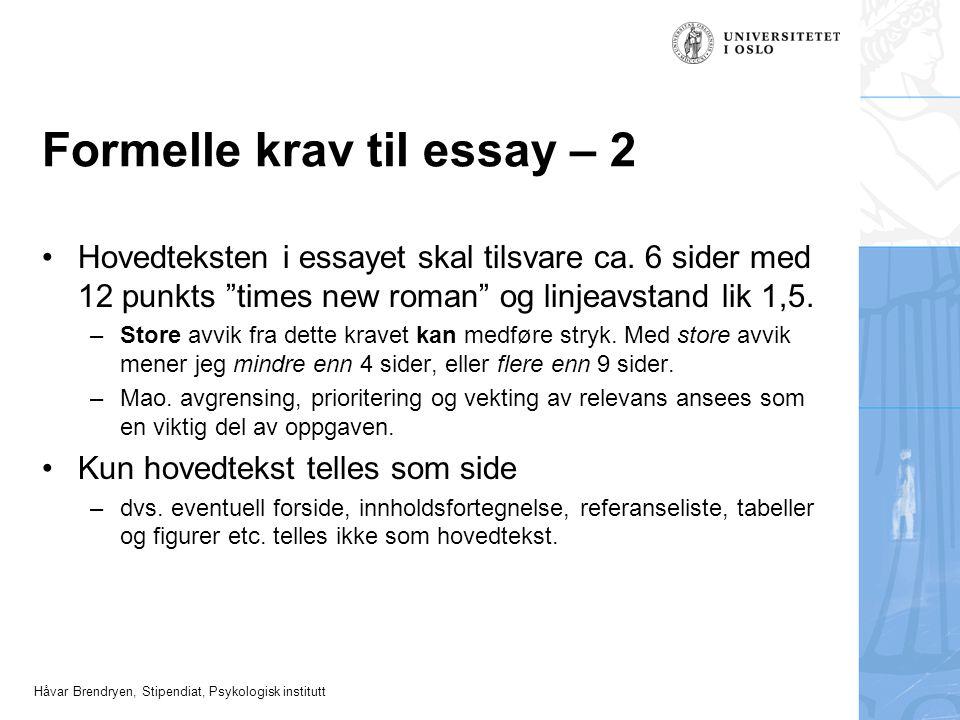 Formelle krav til essay – 2
