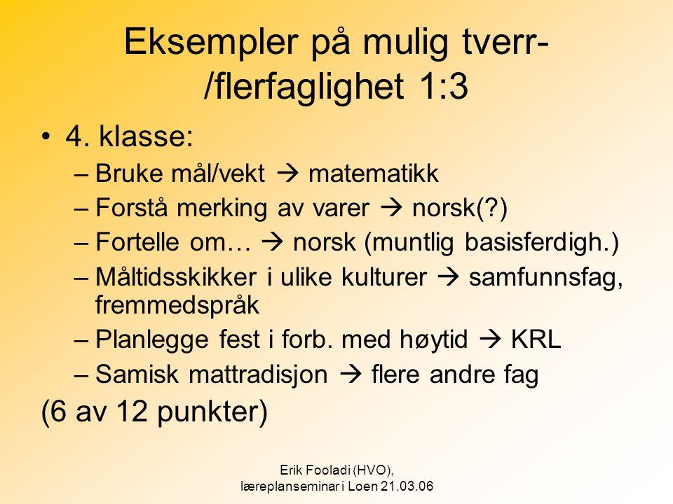 Eksempler på mulig tverr-/flerfaglighet 1:3