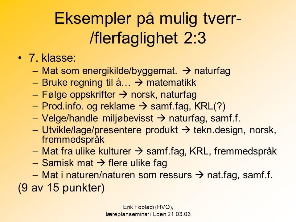 Eksempler på mulig tverr-/flerfaglighet 2:3