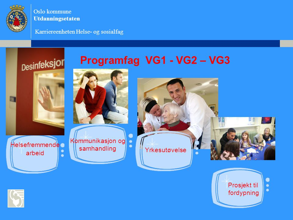 Programfag VG1 - VG2 – VG3 Kommunikasjon og Helsefremmende samhandling
