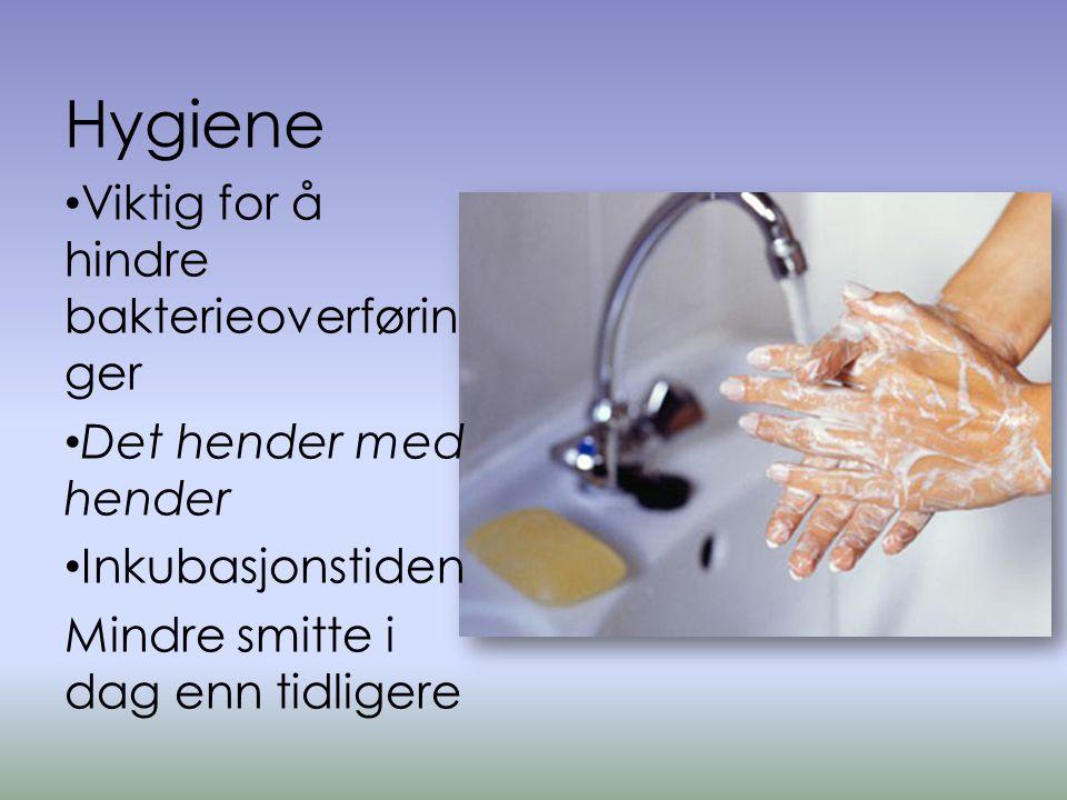 Hygiene Viktig for å hindre bakterieoverføringer Det hender med hender
