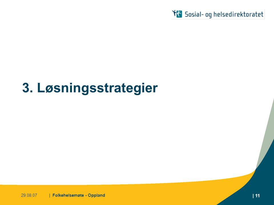 3. Løsningsstrategier 29.08.07 | Folkehelsemøte - Oppland
