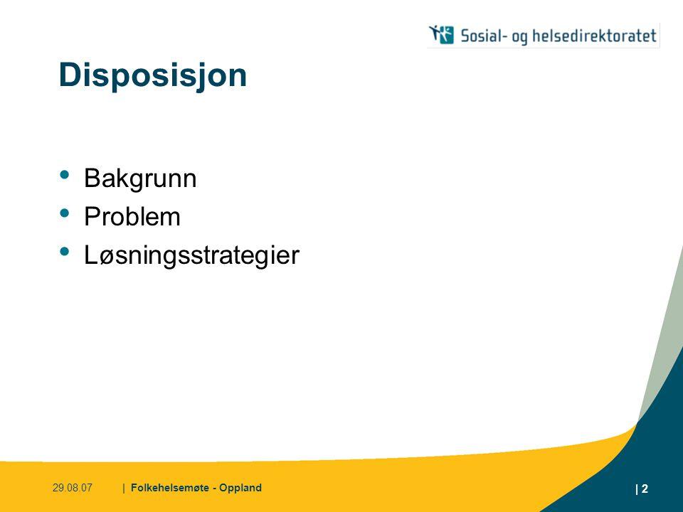 Disposisjon Bakgrunn Problem Løsningsstrategier 29.08.07