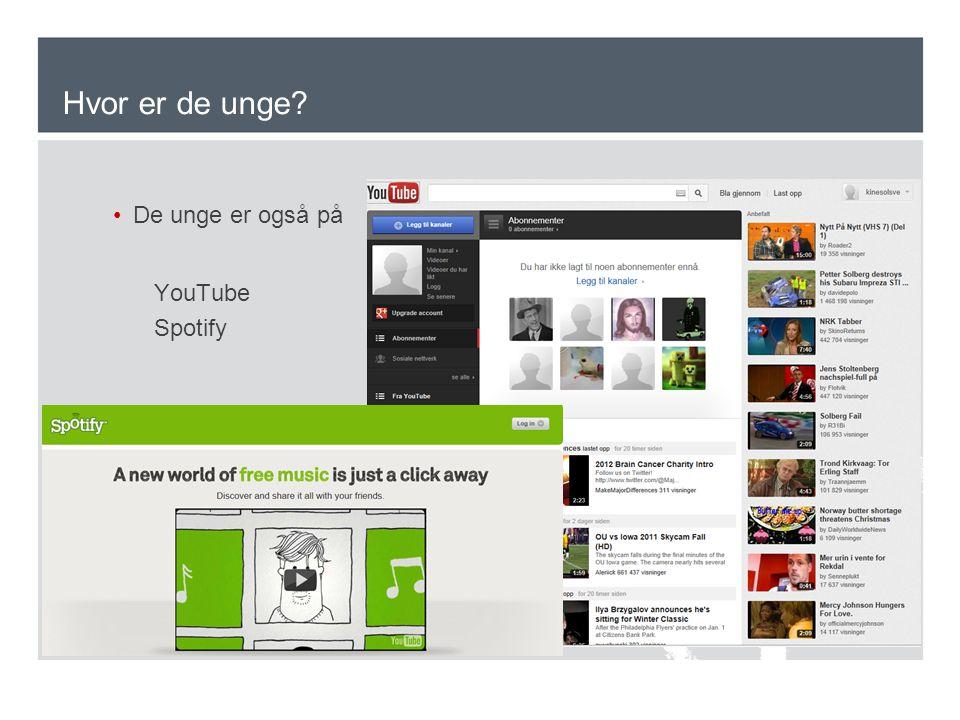 Hvor er de unge De unge er også på YouTube Spotify
