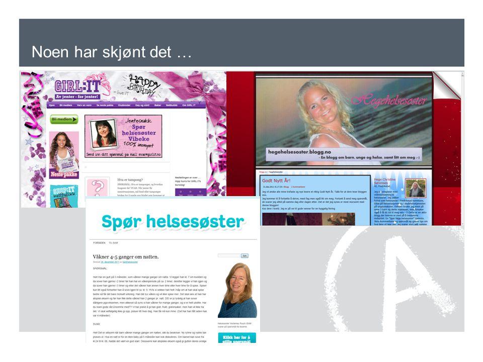 Noen har skjønt det … Egen helsesøsterblogg. Både unge og voksne blogger, så det er fint at helsesøstre er der ute.