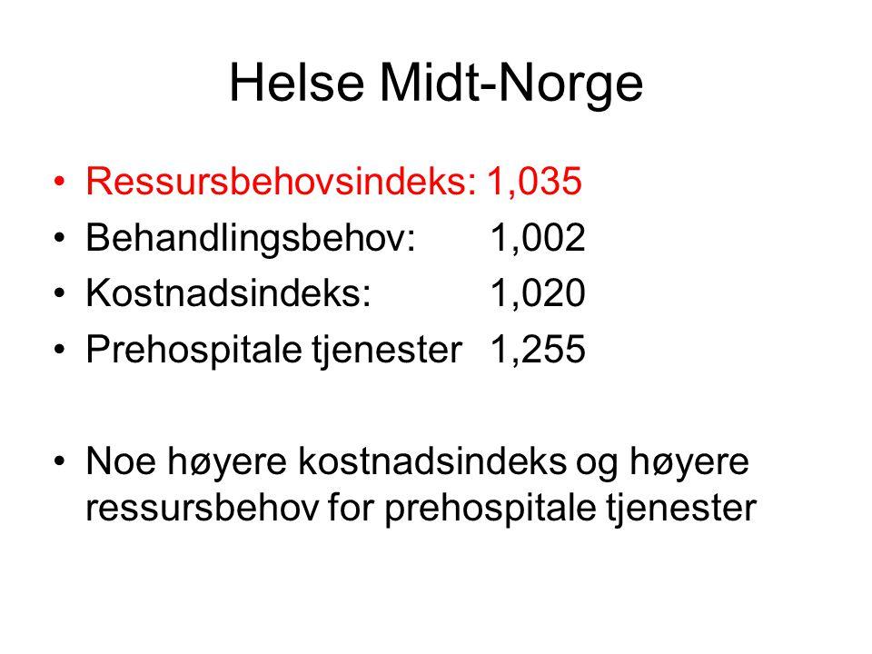 Helse Midt-Norge Ressursbehovsindeks: 1,035 Behandlingsbehov: 1,002