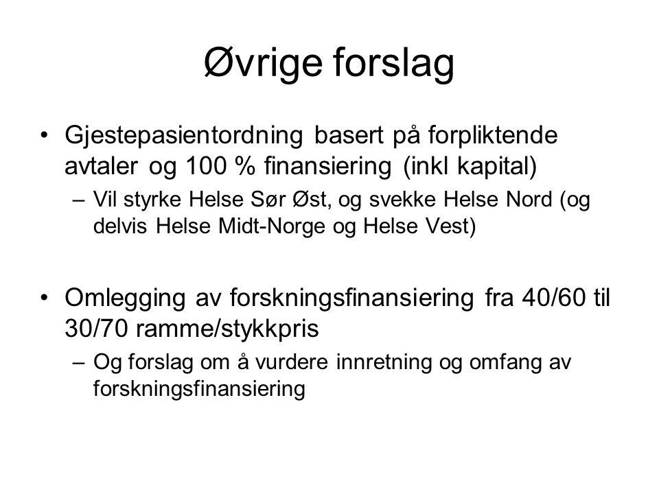 Øvrige forslag Gjestepasientordning basert på forpliktende avtaler og 100 % finansiering (inkl kapital)
