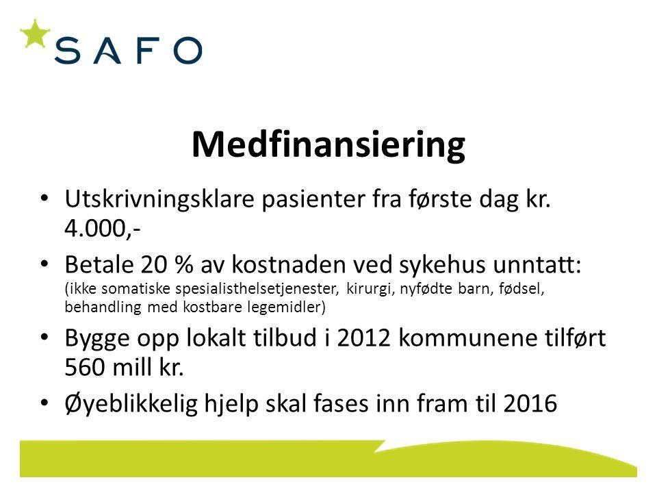 Medfinansiering Utskrivningsklare pasienter fra første dag kr. 4.000,-
