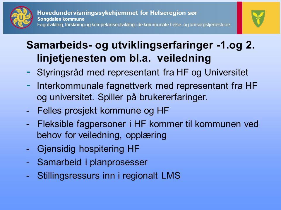 Hovedundervisningssykehjemmet for Helseregion sør Songdalen kommune Fagutvikling, forskning og kompetanseutvikling i de kommunale helse- og omsorgstjenestene