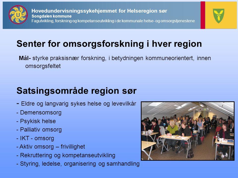 Senter for omsorgsforskning i hver region