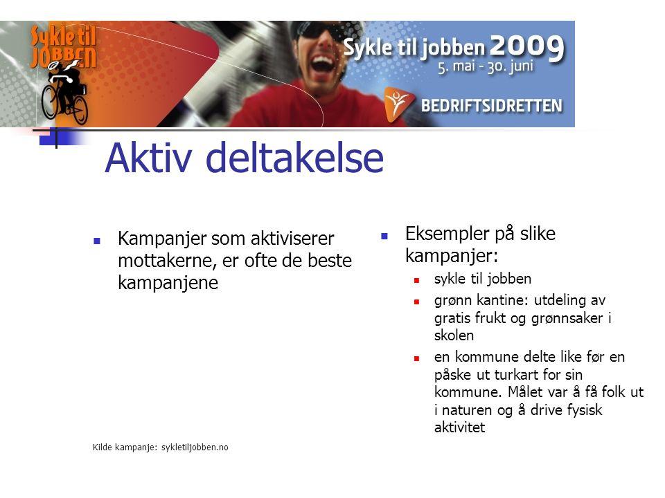 Aktiv deltakelse Eksempler på slike kampanjer: