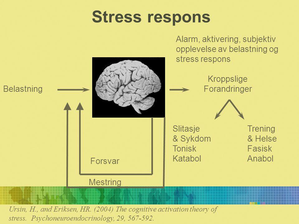 Stress respons Alarm, aktivering, subjektiv opplevelse av belastning og stress respons. Kroppslige.