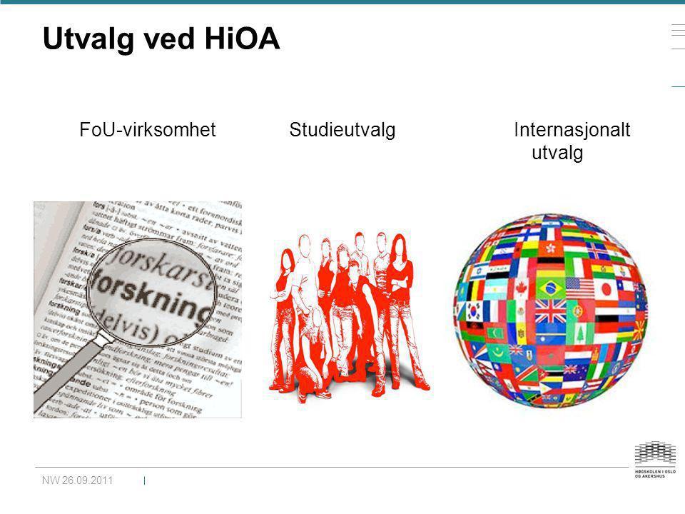 Utvalg ved HiOA FoU-virksomhet Studieutvalg Internasjonalt utvalg