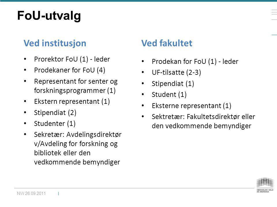 FoU-utvalg Ved institusjon Ved fakultet Prorektor FoU (1) - leder