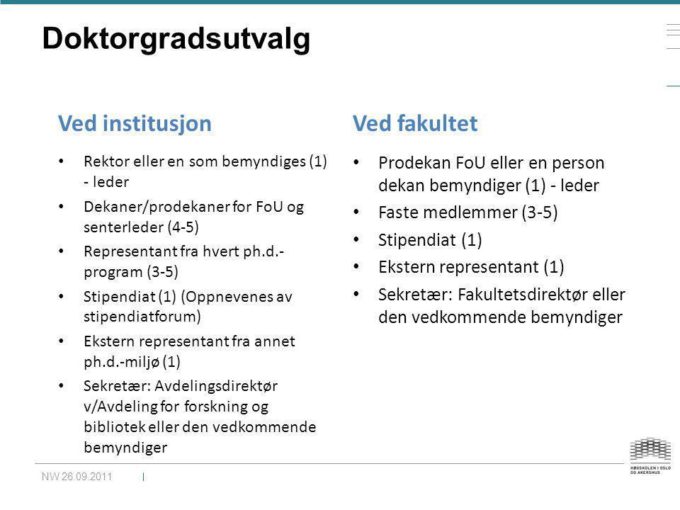 Doktorgradsutvalg Ved institusjon Ved fakultet