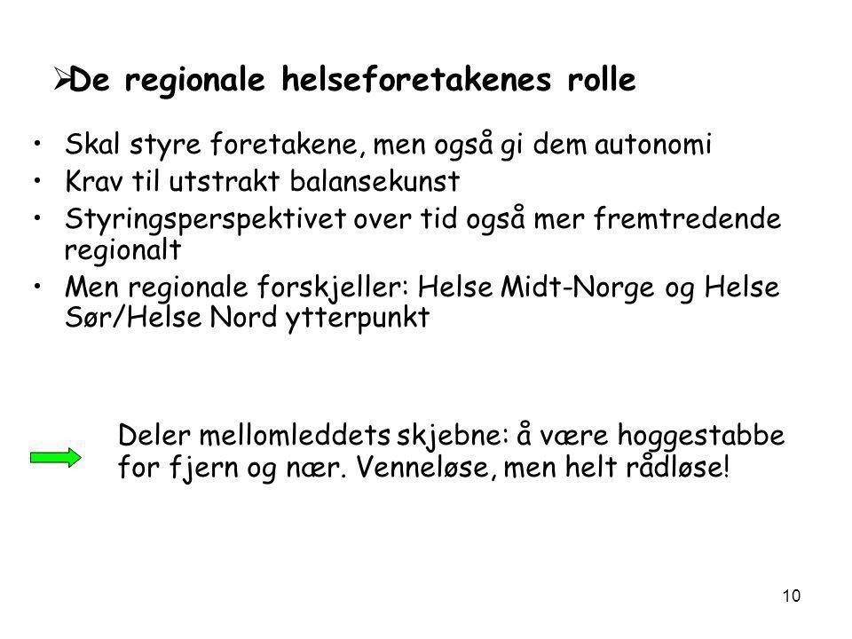 De regionale helseforetakenes rolle