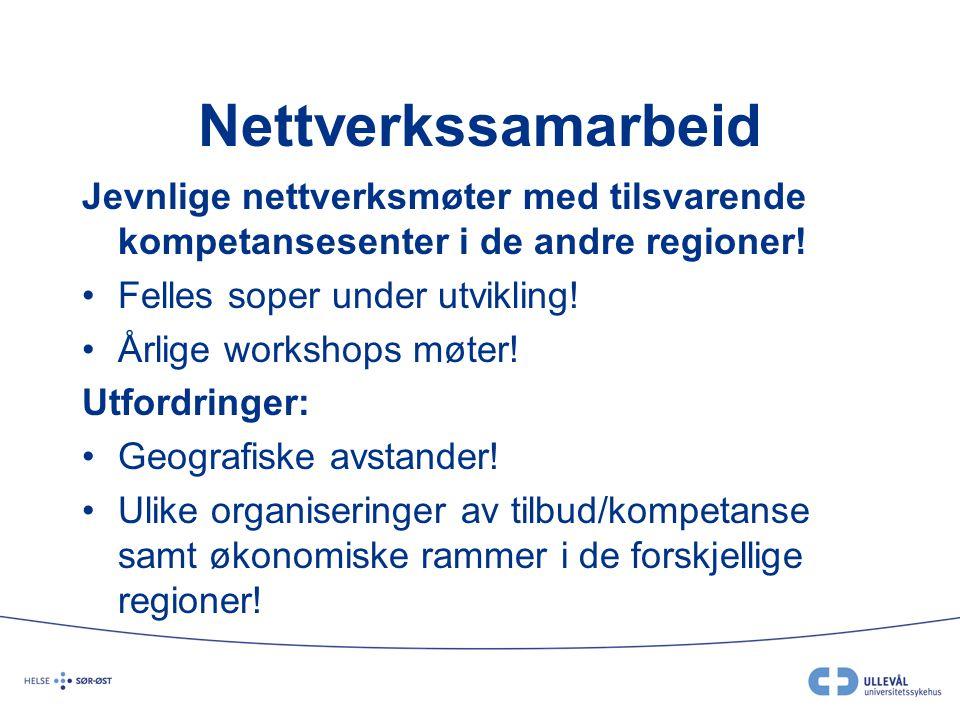 Nettverkssamarbeid Jevnlige nettverksmøter med tilsvarende kompetansesenter i de andre regioner! Felles soper under utvikling!