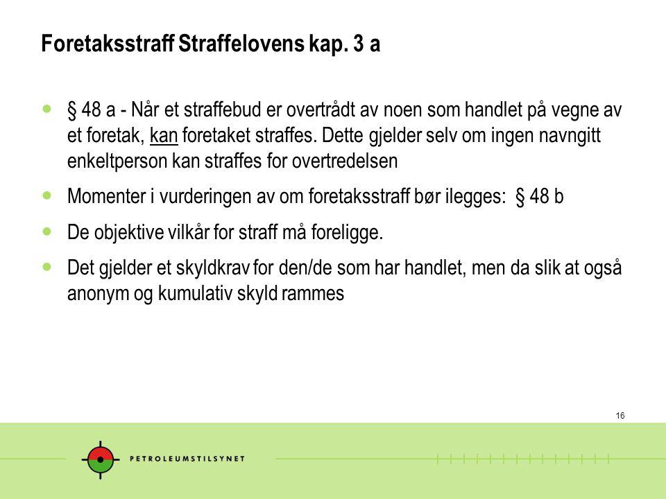Foretaksstraff Straffelovens kap. 3 a