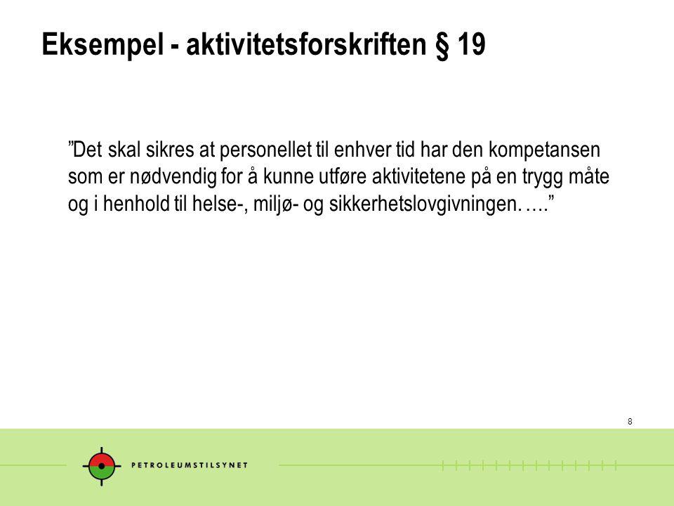 Eksempel - aktivitetsforskriften § 19
