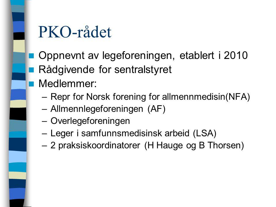 PKO-rådet Oppnevnt av legeforeningen, etablert i 2010