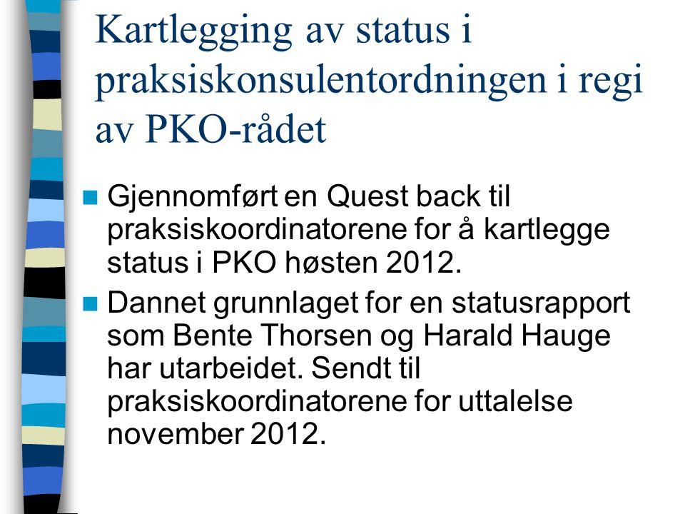 Kartlegging av status i praksiskonsulentordningen i regi av PKO-rådet