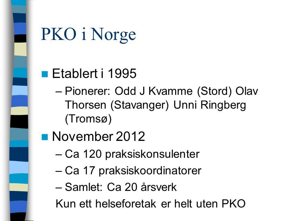PKO i Norge Etablert i 1995 November 2012
