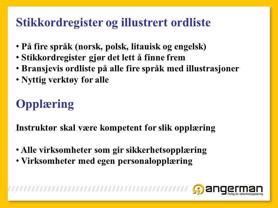 Stikkordregister og illustrert ordliste
