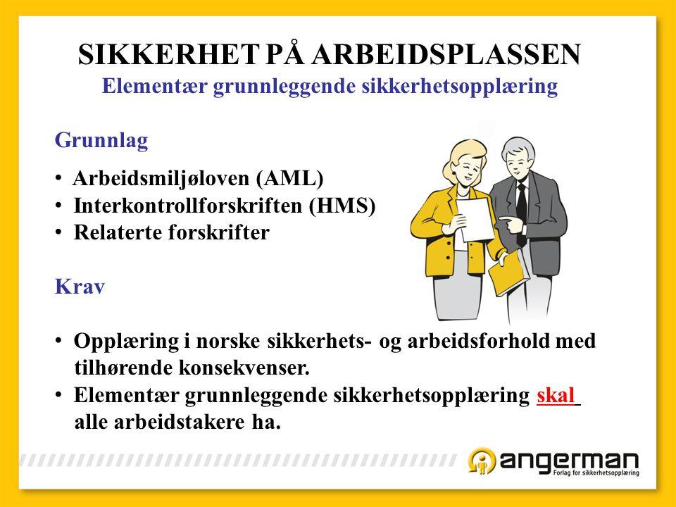 SIKKERHET PÅ ARBEIDSPLASSEN
