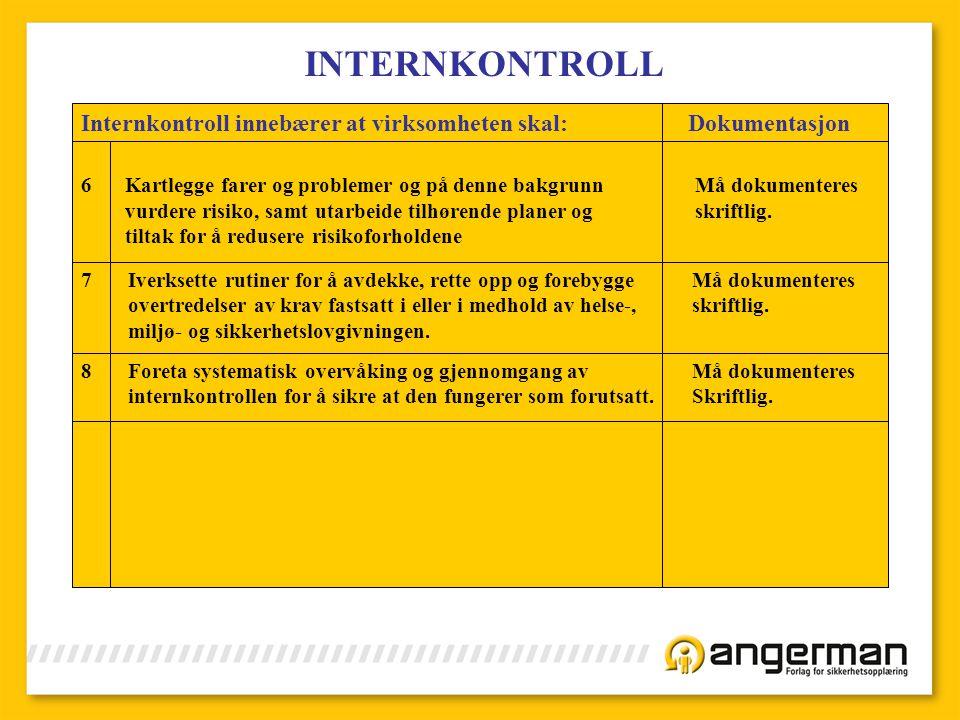 INTERNKONTROLL Internkontroll innebærer at virksomheten skal: Dokumentasjon.