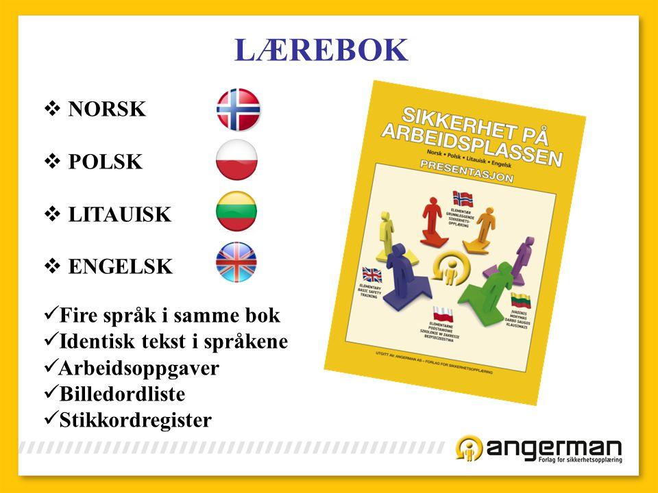LÆREBOK NORSK POLSK LITAUISK ENGELSK Fire språk i samme bok