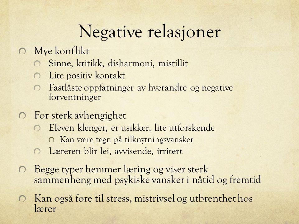 Negative relasjoner Mye konflikt For sterk avhengighet