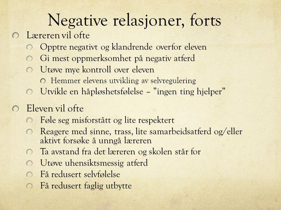 Negative relasjoner, forts