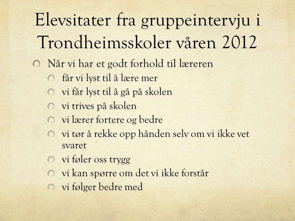 Elevsitater fra gruppeintervju i Trondheimsskoler våren 2012