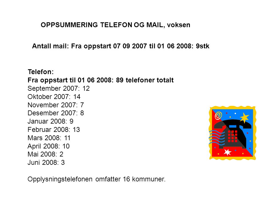 OPPSUMMERING TELEFON OG MAIL, voksen