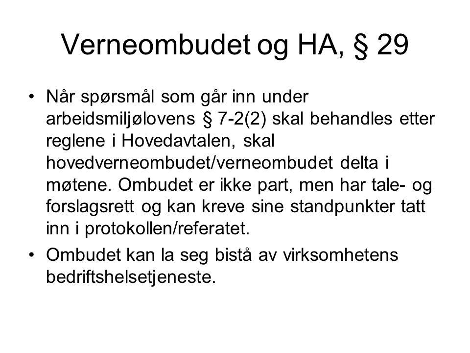 Verneombudet og HA, § 29