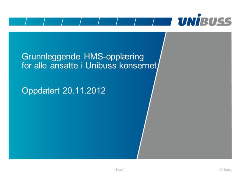Grunnleggende HMS-opplæring for alle ansatte i Unibuss konsernet