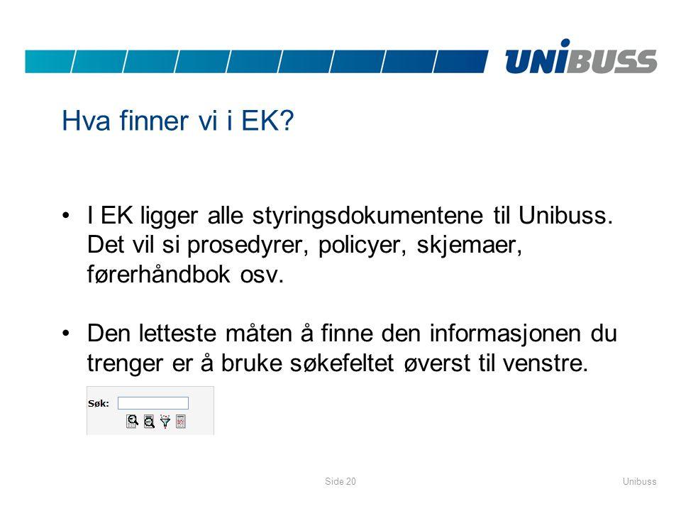Hva finner vi i EK I EK ligger alle styringsdokumentene til Unibuss. Det vil si prosedyrer, policyer, skjemaer, førerhåndbok osv.