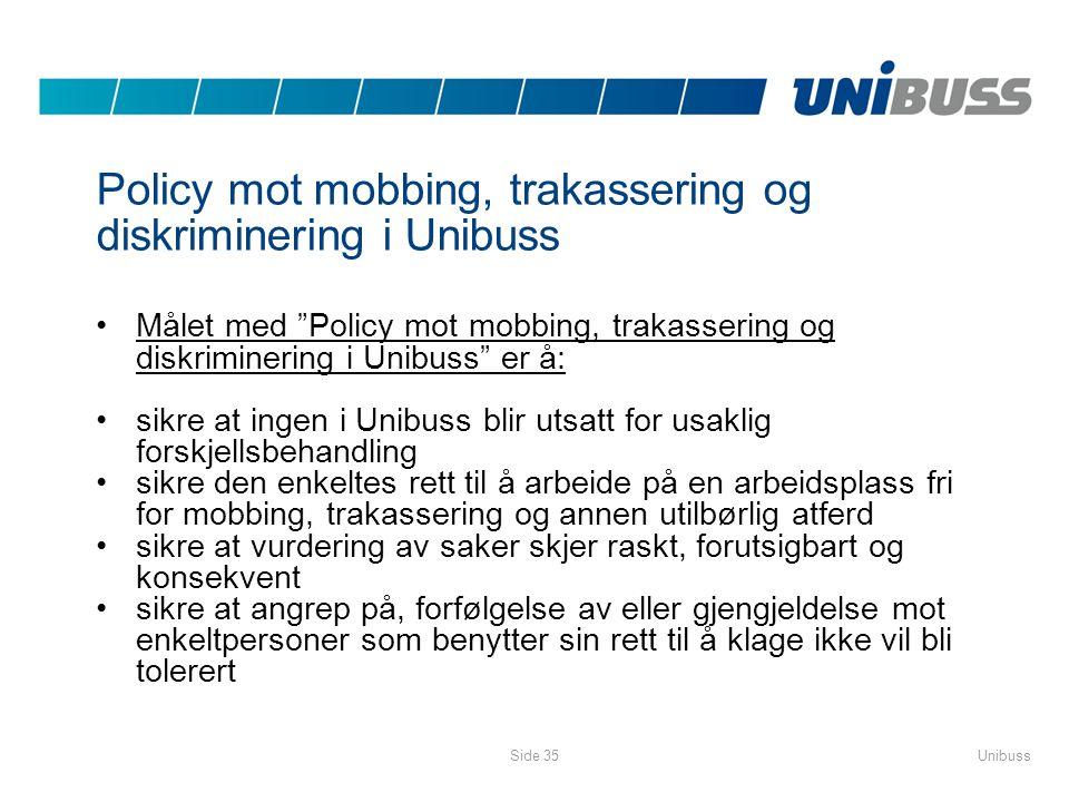 Policy mot mobbing, trakassering og diskriminering i Unibuss