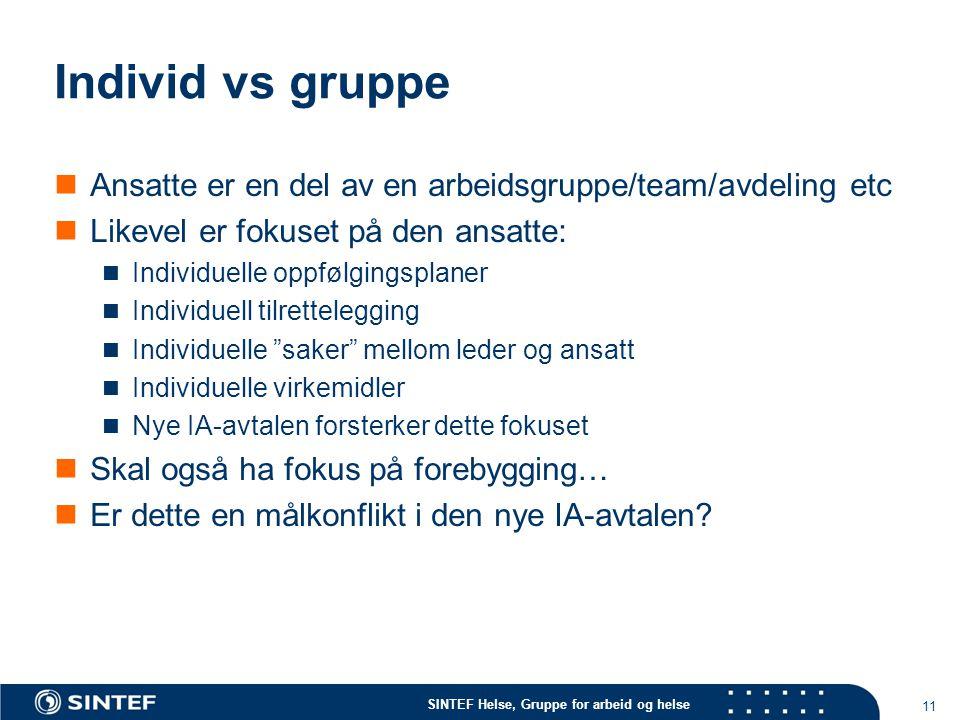 Individ vs gruppe Ansatte er en del av en arbeidsgruppe/team/avdeling etc. Likevel er fokuset på den ansatte: