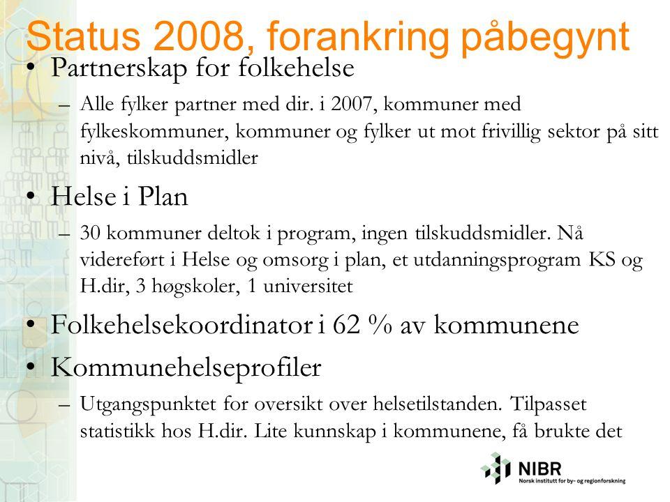 Status 2008, forankring påbegynt