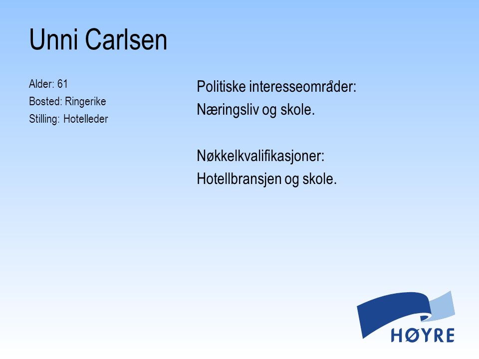 Unni Carlsen Alder: 61 Bosted: Ringerike Stilling: Hotelleder