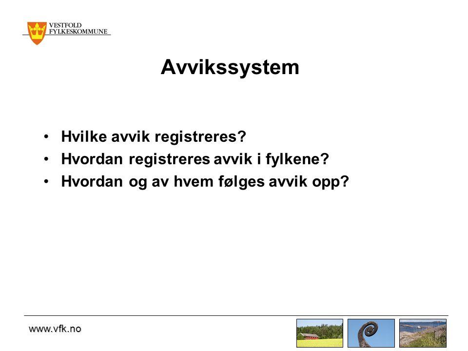 Avvikssystem Hvilke avvik registreres