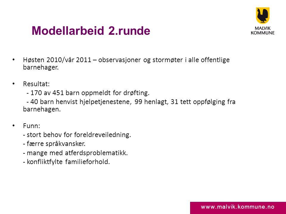 Modellarbeid 2.runde Høsten 2010/vår 2011 – observasjoner og stormøter i alle offentlige barnehager.